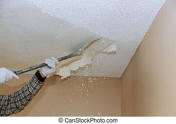 soffitto, drywall, struttura, popcorn, casa, demolizione