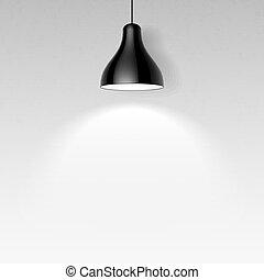 soffitto, nero, lampada