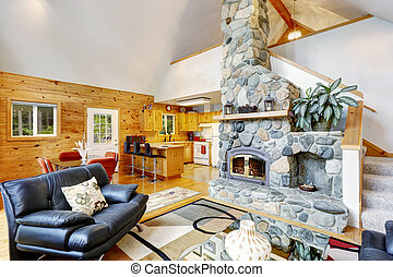 soffitto, pavimento, casa, vaulted, piano, interno, aperto