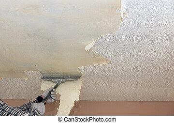 soffitto, spento, parete, struttura, rimozione, prendere, popcorn, casa