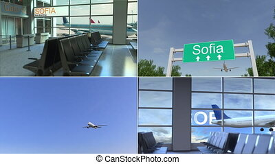 sofia., arrive, montage, animation, conceptuel, avion, voyage, bulgarie
