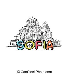 Sofia beautiful sketched icon, famaous hand-drawn landmark,...