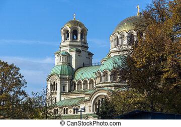 sofia, bulgaria, 2017:, nevski, 7, -, ocaso, santo, catedral, noviembre, vista, alexander