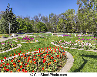 Spring view of South Park in city of Sofia