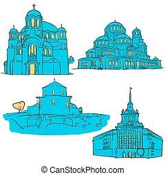 Sofia Bulgaria Colored Landmarks, Scalable Vector Monuments....