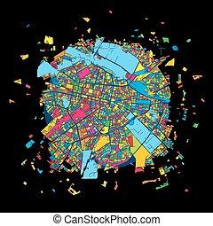 Sofia, Bulgaria, Colorful Artmap, Vector Map, Local Urban...