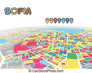 Sofia, Bulgaria, Downtown 3D Vector Map