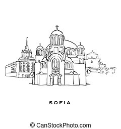 Sofia Bulgaria famous architecture. Outlined vector sketch...