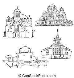 Sofia Bulgaria Famous Buildings, Monochrome Outlined Travel Landmarks, Scalable Vector Illustration