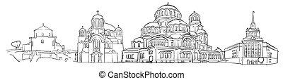 Sofia Bulgaria Panorama Sketch, Monochrome Urban Cityscape...