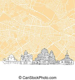 Sofia Bulgaria Skyline Map