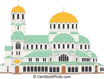 Sofia Cathedral, Bulgaria. Isolated on white background...