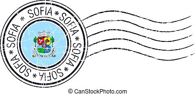 Sofia city grunge postal rubber stamp and flag on white...