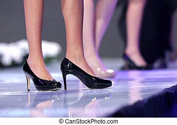 Sofia Fashion Week black shoes - Female models walk the...