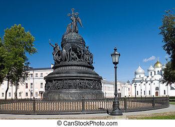 sofia, novgorod, milênio, monumento, veliky, catedral, ...