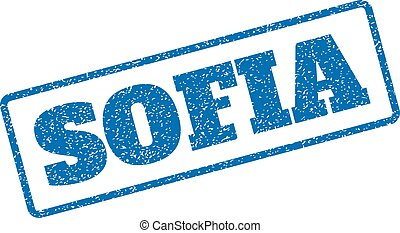 Sofia Rubber Stamp - Blue rubber seal stamp with Sofia text....