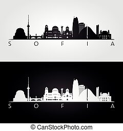 Sofia skyline and landmarks silhouette
