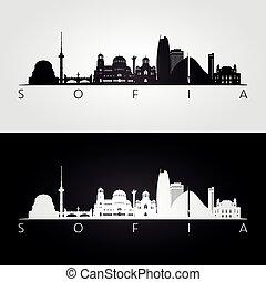 Sofia skyline and landmarks silhouette