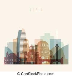Sofia skyline detailed silhouette.