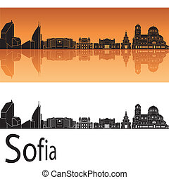 Sofia skyline in orange background in editable vector file