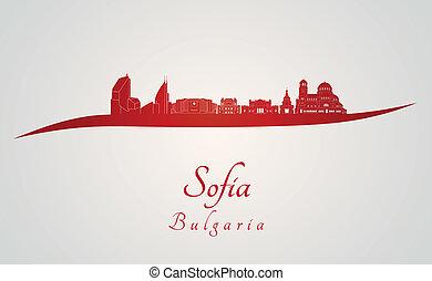 Sofia skyline in red