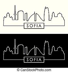 Sofia skyline. Linear style. Editable vector file.