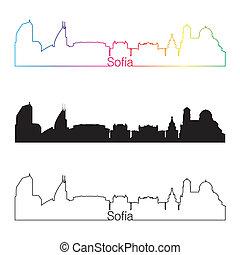Sofia skyline linear style with rainbow
