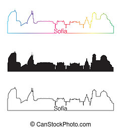 Sofia skyline linear style with rainbow