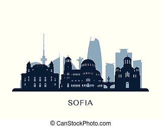 Sofia skyline, monochrome silhouette. Vector illustration.