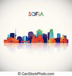 Sofia skyline silhouette in colorful geometric style. Symbol...