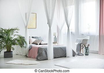sofisticado, dormitorio, interior, con, planta