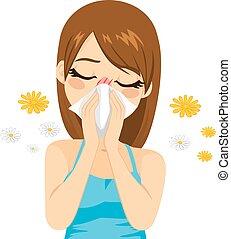 sofrimento, alergia, mulher