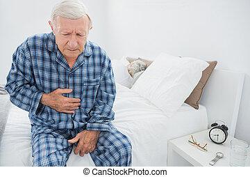 sofrimento, envelhecido, dor, barriga, homem