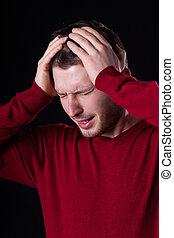 sofrimento, homem, dor de cabeça