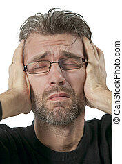 sofrimento, homem, maduras, dor de cabeça