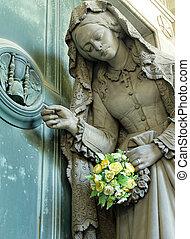 sofrimento, mulher, com, flores