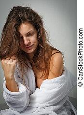 sofrimento, mulher, depressão