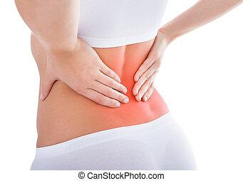 sofrimento, mulher, dor, costas
