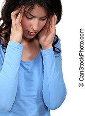 sofrimento, mulher, dor de cabeça