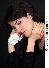 sofrimento, mulher, dor, pescoço