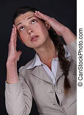 sofrimento, mulher, latejar, dor de cabeça