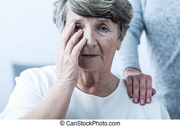 sofrimento, mulher, senilidade