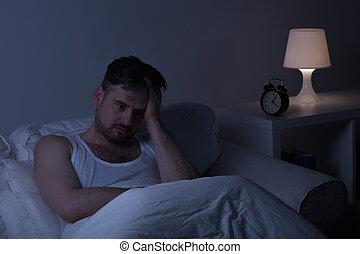 sofrimento, sleeplessness, homem