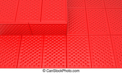 Soft and safe space concept - red mattresses