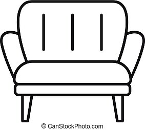 Soft armchair icon, outline style