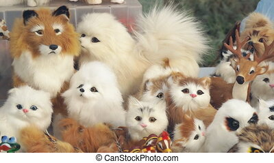 Soft artificial toys animals in front of camera - Soft...