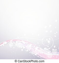 soft background with waves, lights and butterflies