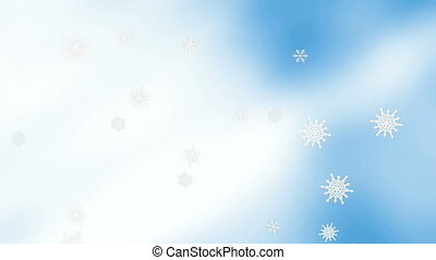 Soft blue and white snow flakes looping background -...