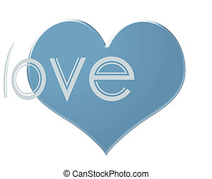 Soft blue colored Heart isolated on a white background with the word LOVE
