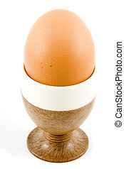 Soft Boiled Egg - a brown soft boiled egg in the eggcup